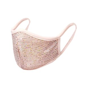 shiny sequin mesh face mask blush color