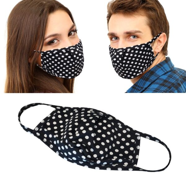 black and white polka dot face masks on models