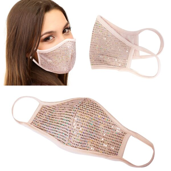lady with sequin face mask in blush color