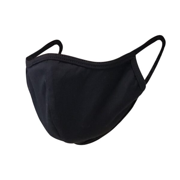 Black face mask. 100% cotton reusable, non-medical. Hand wash.