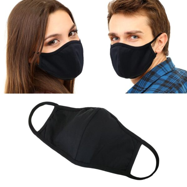 Models wearing 100% cotton black face masks. Reusable, non-medical. No elastic straps. Breathable and comfy.