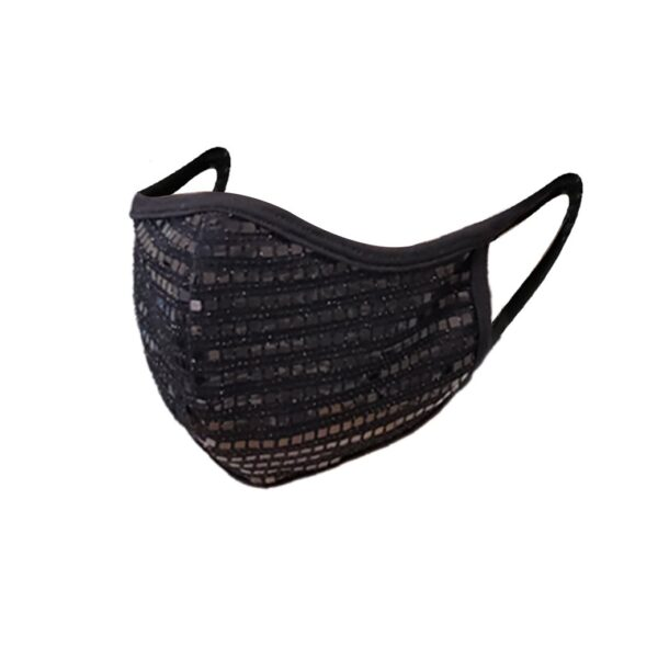 Black sequin 3D face mask. Breathable, comfy and fashionable.
