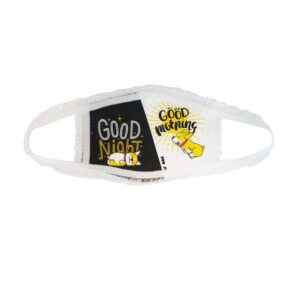 Kids' face mask with words Good night/good morning and a puppy. Mask is white, yellow and black.