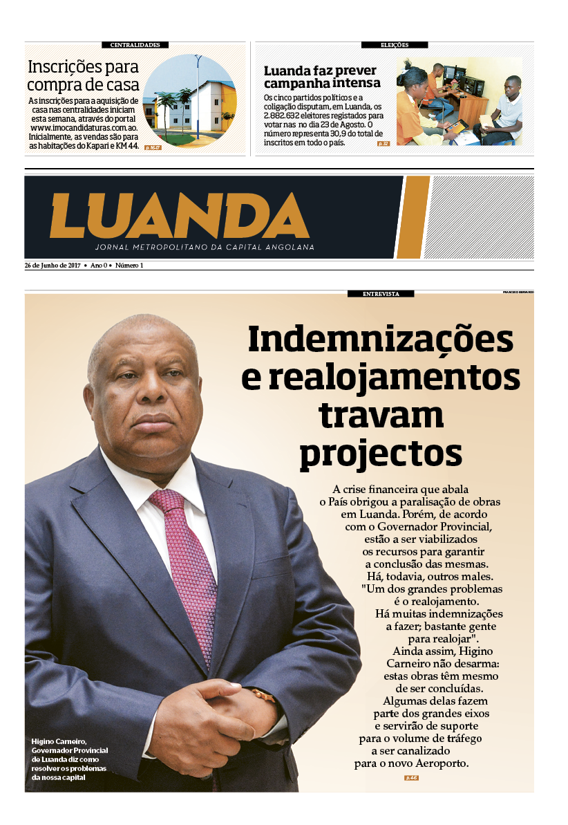 Jornal Metropolitano de Luanda n.º 1 – projecto jribeiro