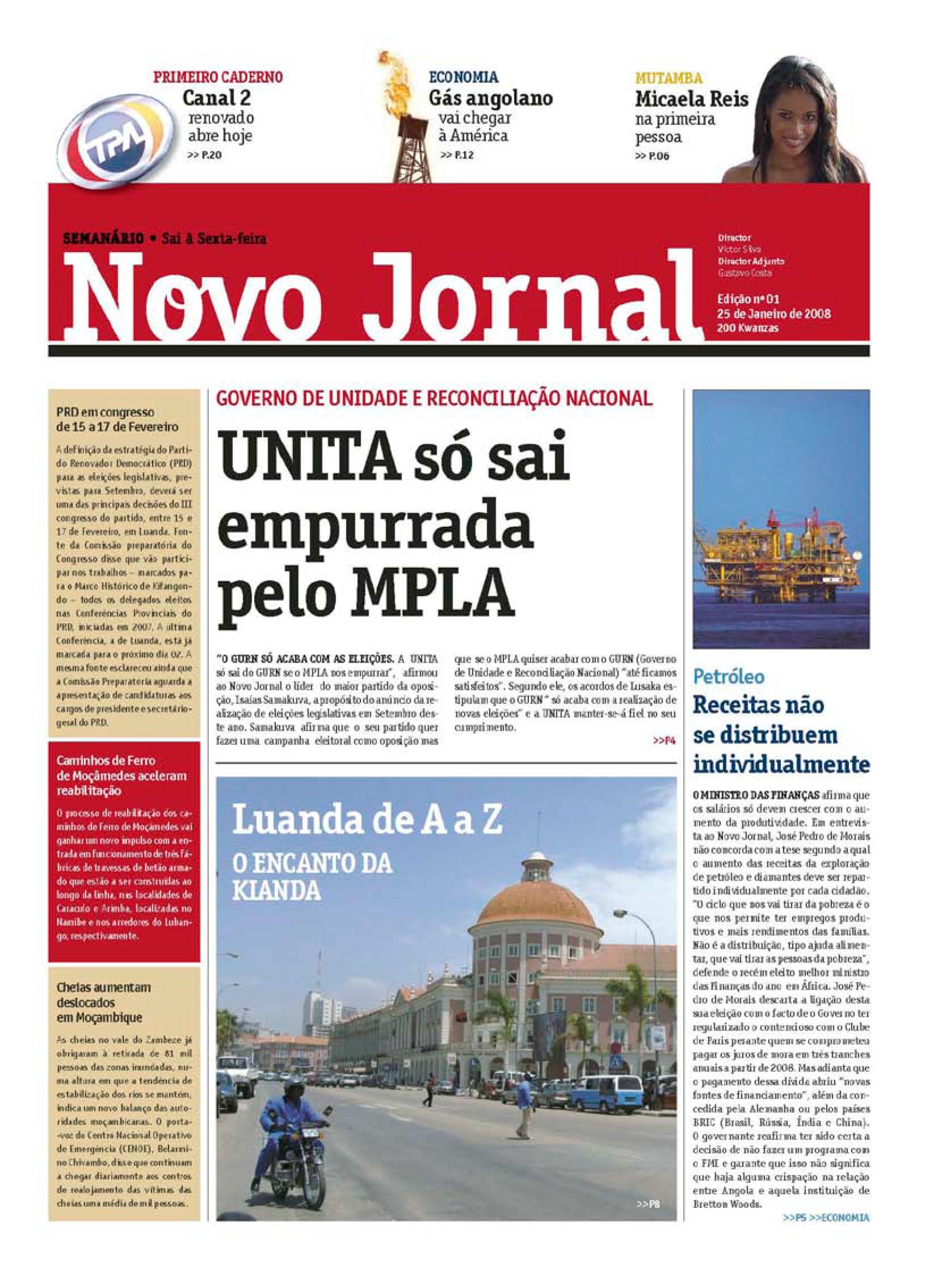 Capa do Novo Jornal n.º 1