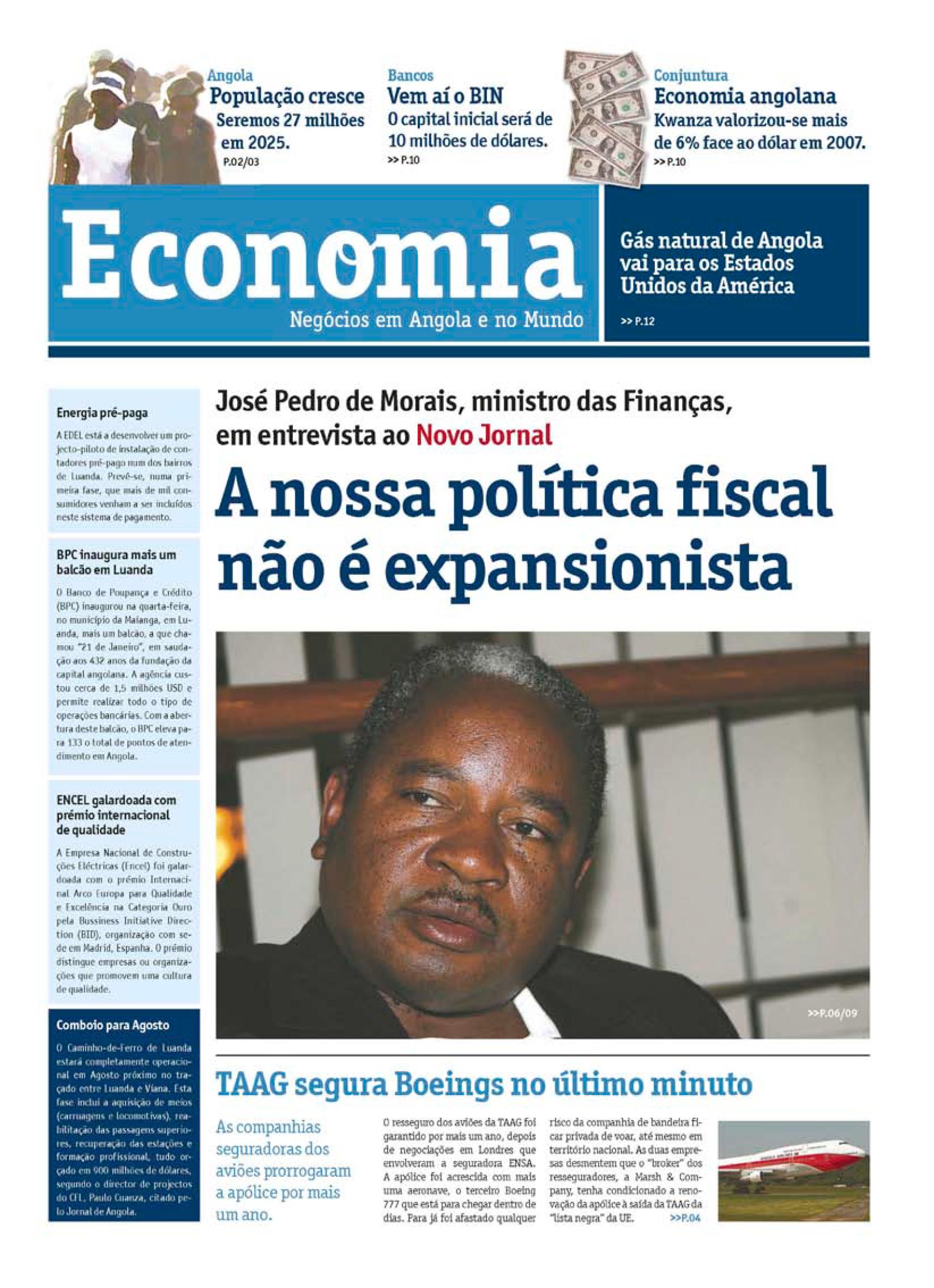 Capa do caderno de Economia do Novo Jornal n.º 1