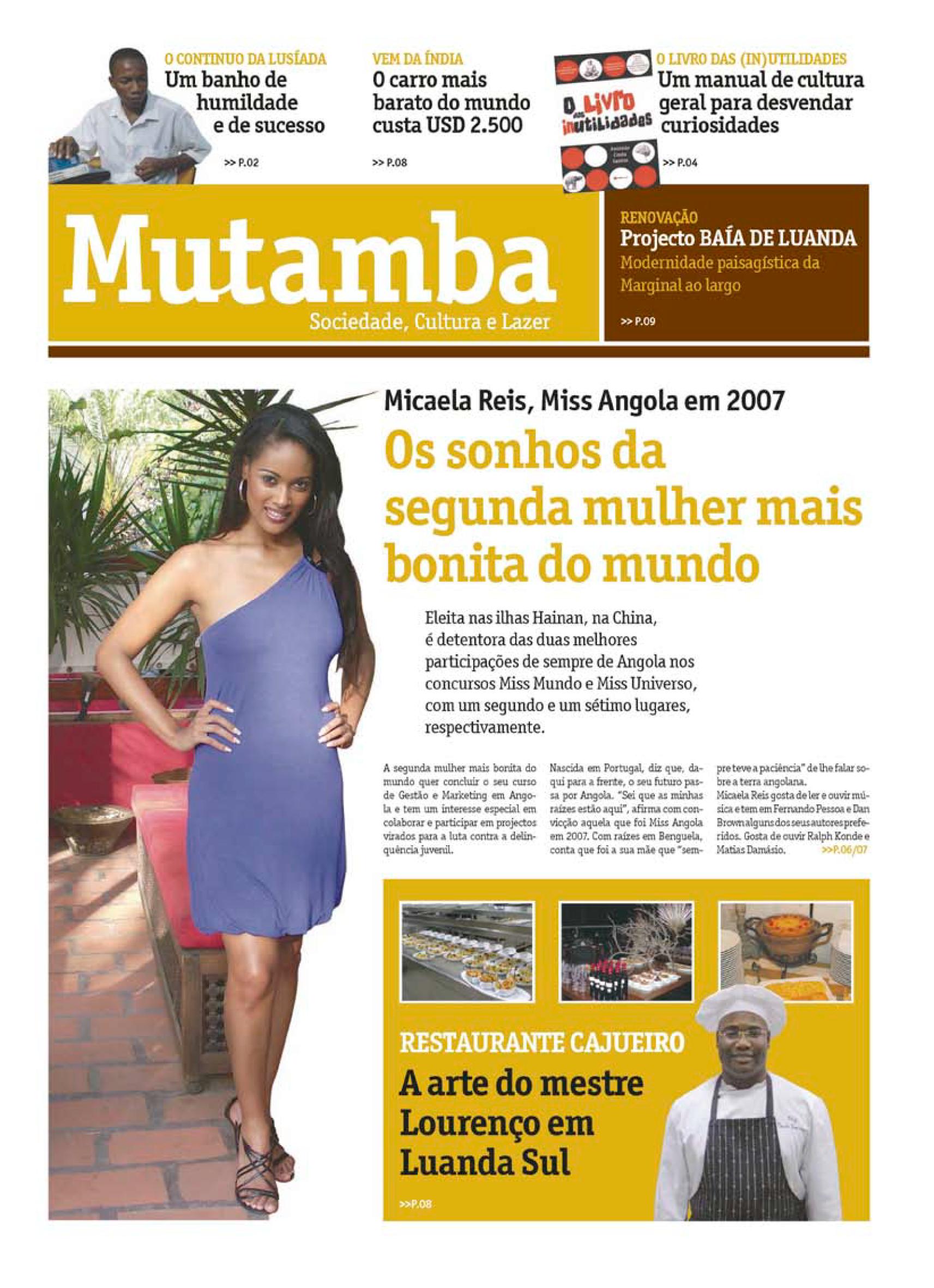 Capa do caderno Mutamba do Novo Jornal n.º 1