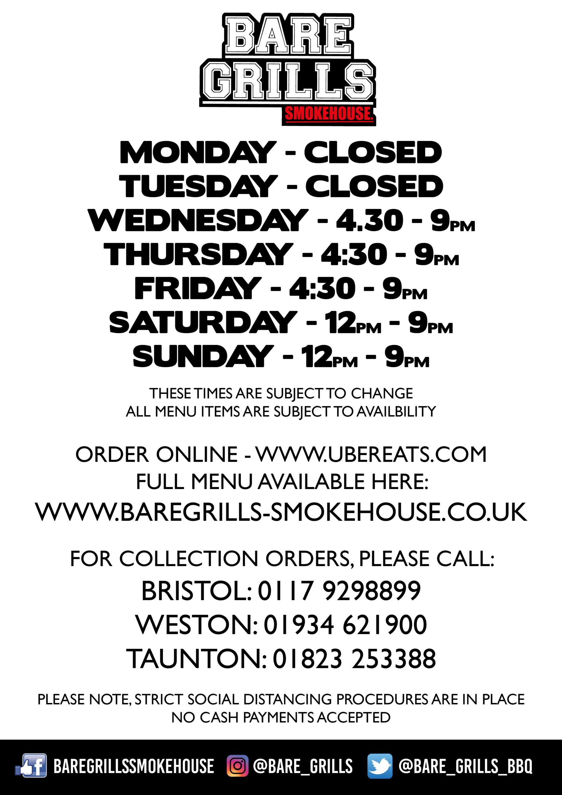 OPENING HOURS COLLECTION ONLY
