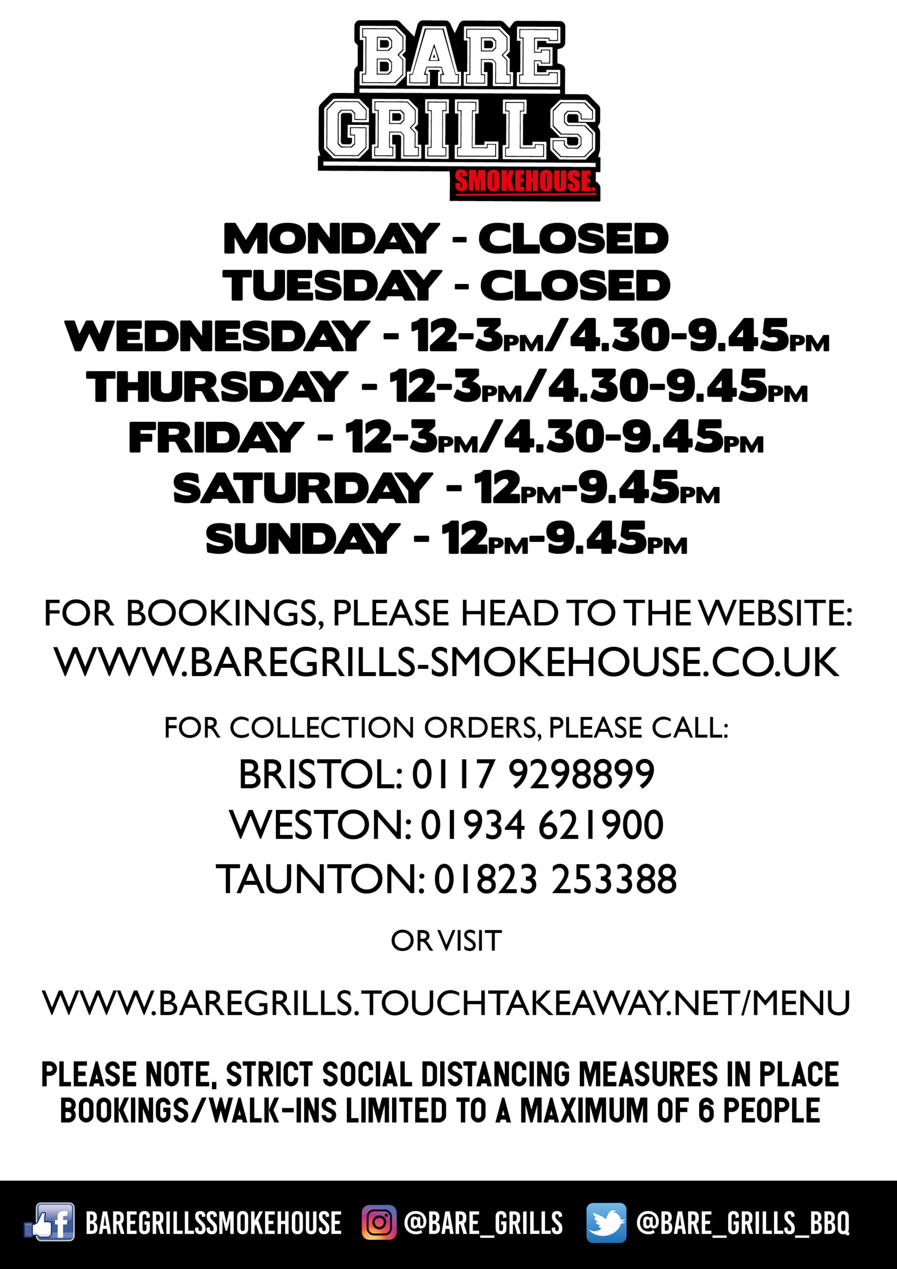Weston Bare Grills Opening Hours