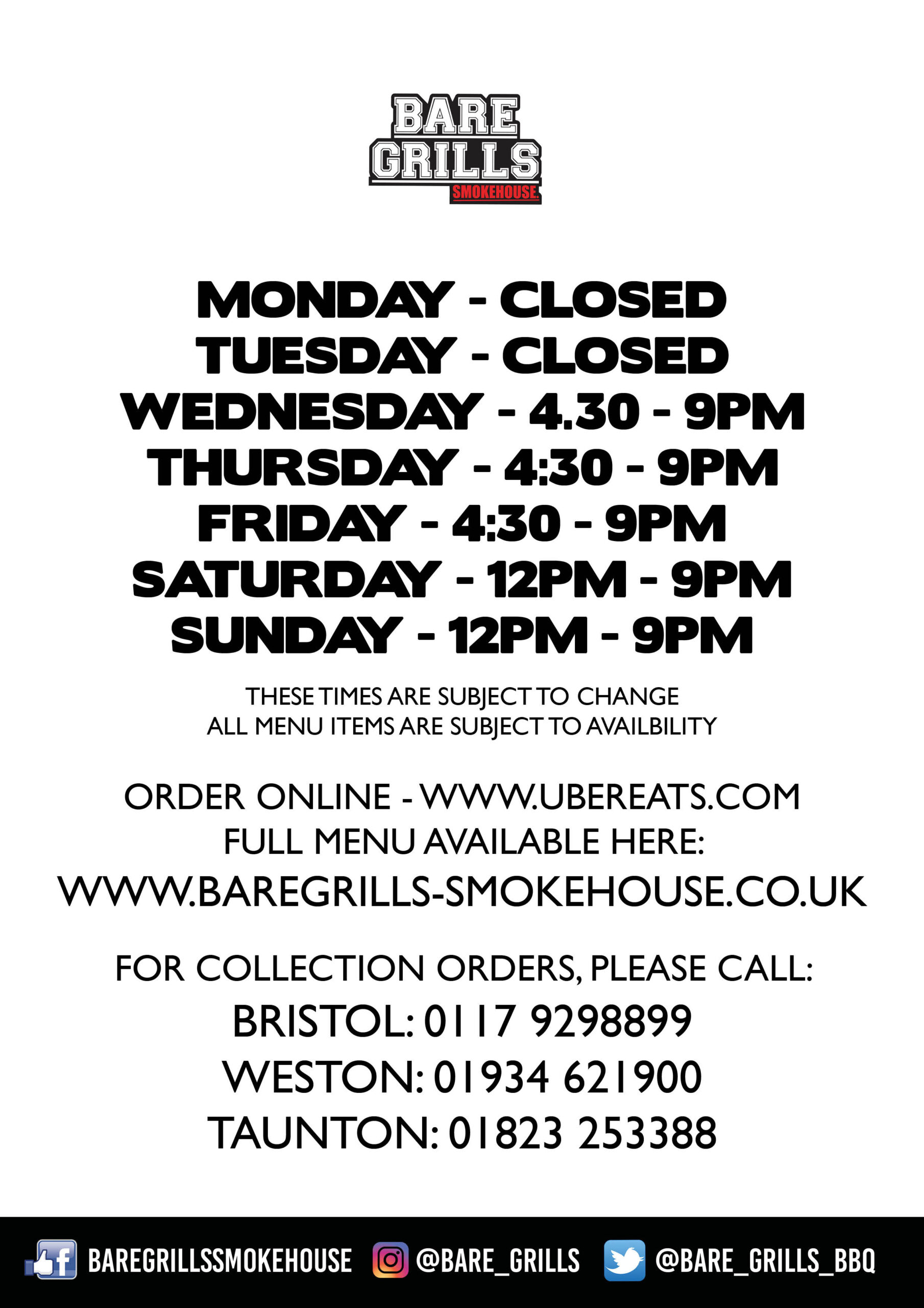 GENERIC OPENING HOURS