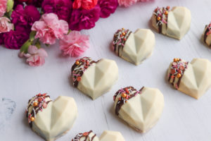 Heart shaped chocolate cake truffles