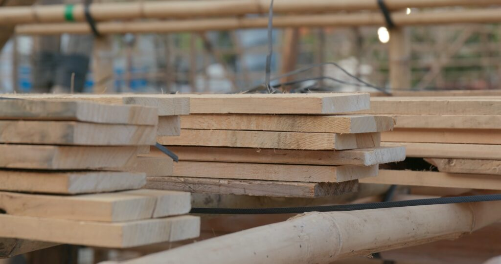 Building up Bamboo scaffold