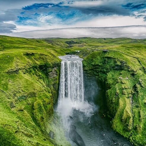 Drone-view-of-Skogafoss-waterfall