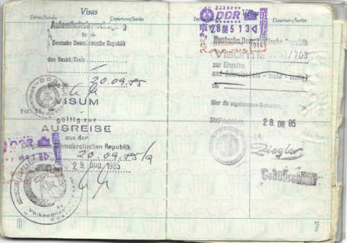 Passport and visa for Rostock 1985