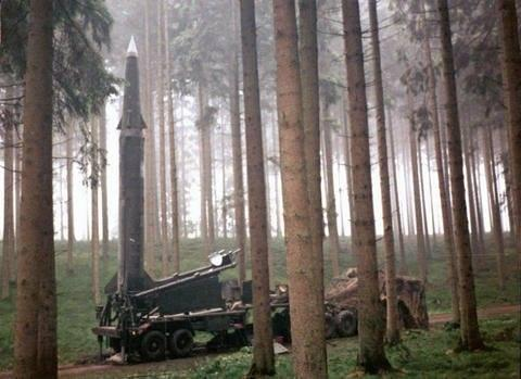 A missile deployed in a firing position in the wood