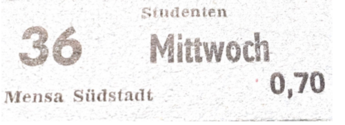 Mensa or Cafeteria ticket for Rostock in 1985