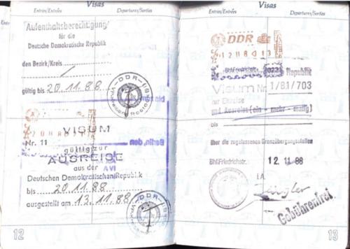 DDR visa 1988