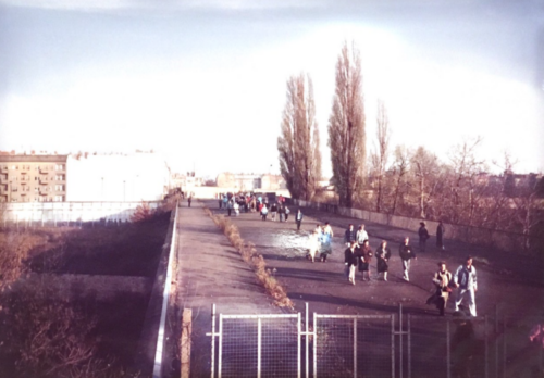 East Germans crossing November 10, 1989 near Behmstrasse