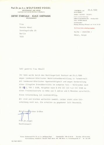 Letter from Wolfgang Vogel