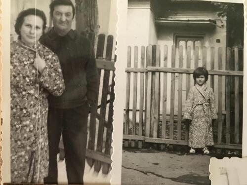 Emanuela and her grandparents in front of the house in which they lived