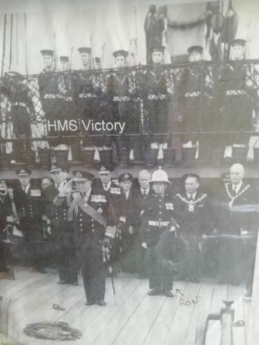 Ron holding wreath HMS Victory