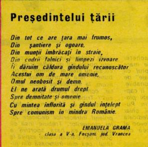 """Emanuela's """"poem"""" to Nicolae Ceaușescu"""