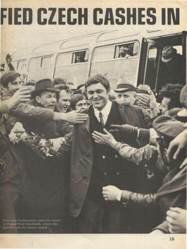 Returning to Prague after the 1969 victories over the Soviet Union.