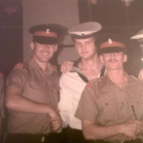 Anthony with East German sailors.