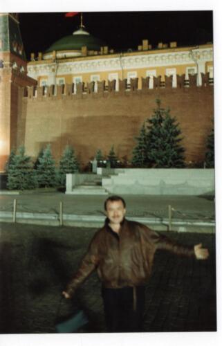 Chris outside the Kremlin