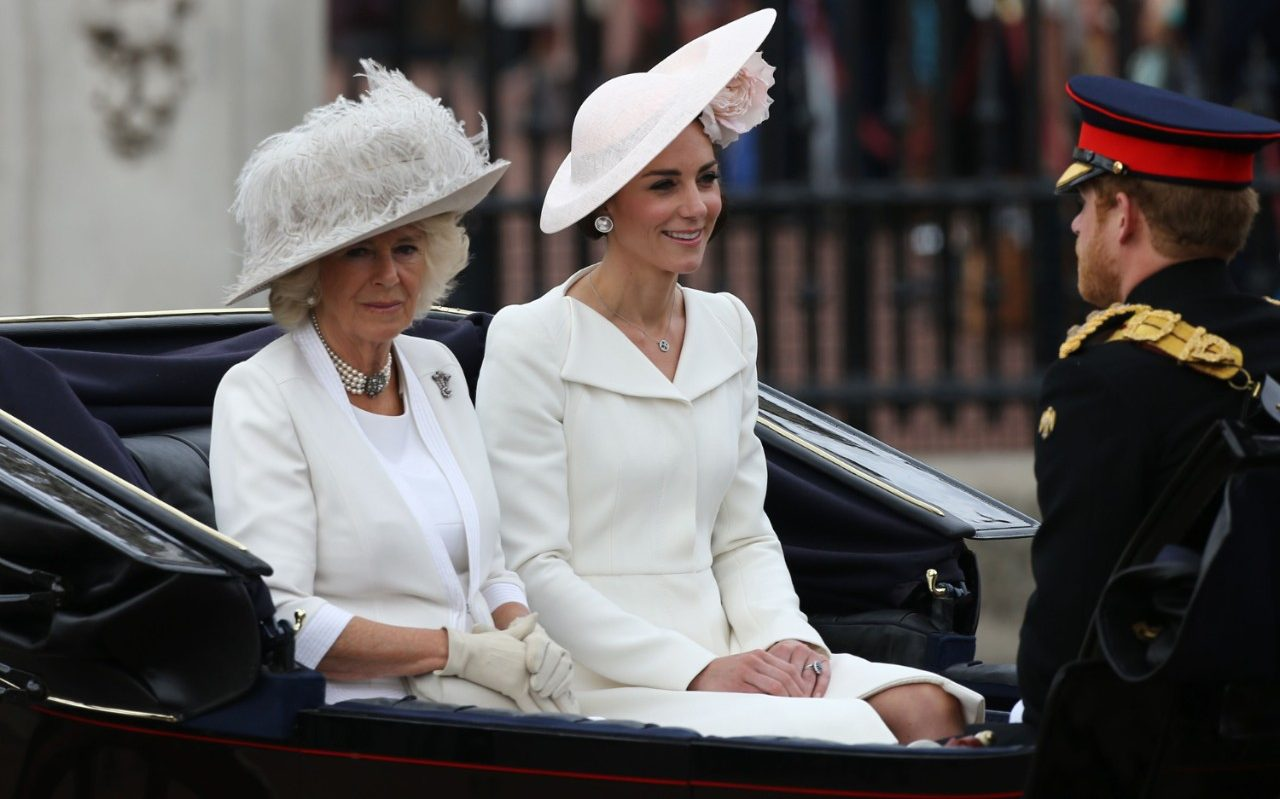 Camilla, Duchess of Cornwall and Catherine, Duchess of Cambridge travel in a carriage with Prince Harry