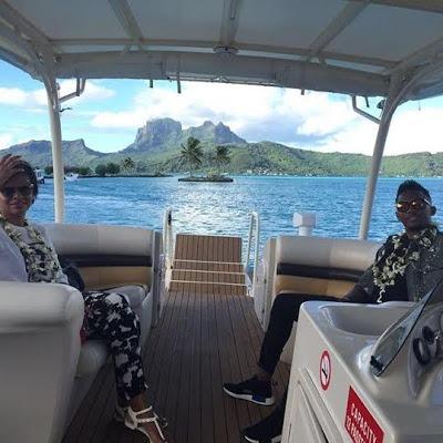 Samuel Eto'o and white Georgette in Bora Bora