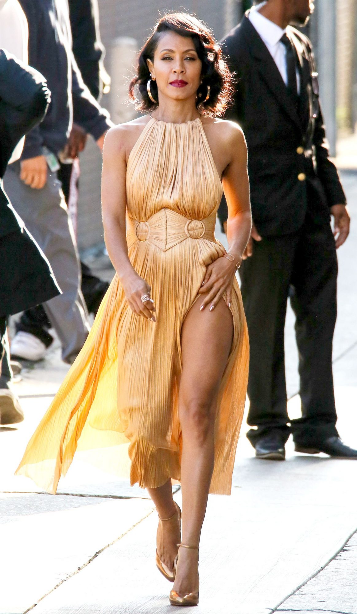 Jada Pinkett Smith Takes Timeless Glamour To Jimmy Kimmel Live In Sexy Gold Dress