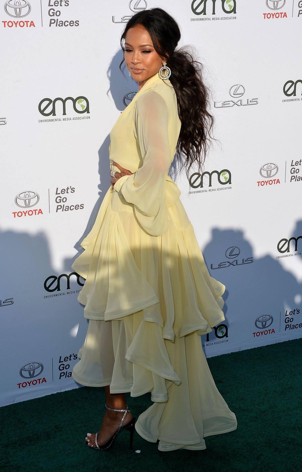 Binge: Karrueche Tran Yellow Ruffled Chiffon Julea Domani Dress