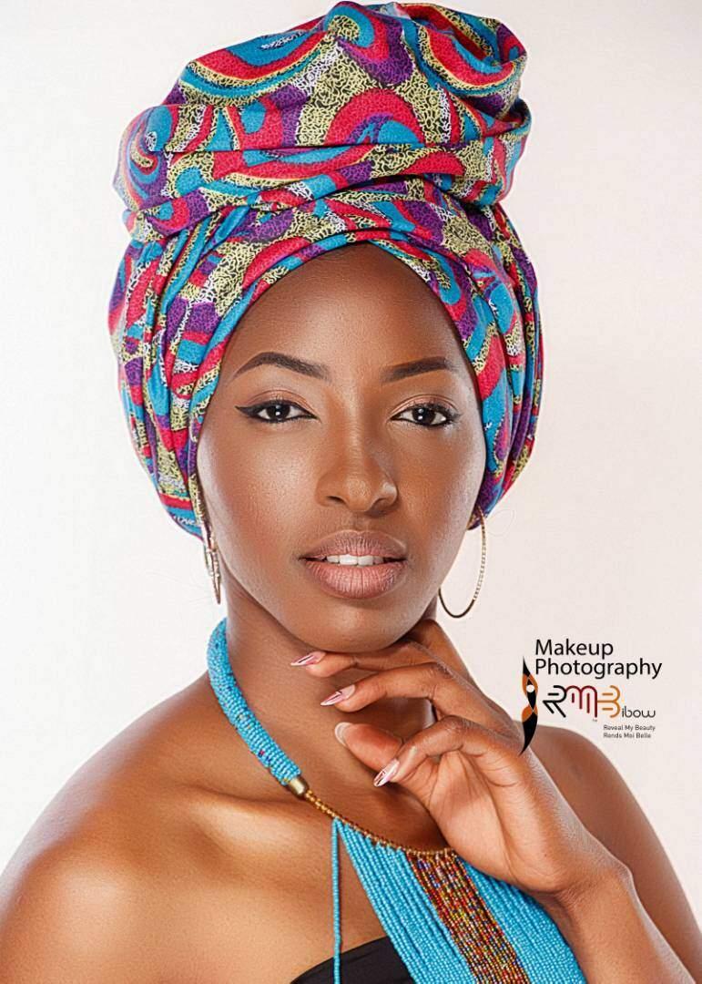 #MissCameroon model Beatrice Doudou in Ankara Head-wraps