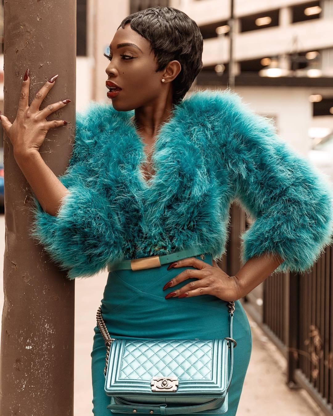 Beautiful Faux Fur Accessories Seen On Sai Sankoh