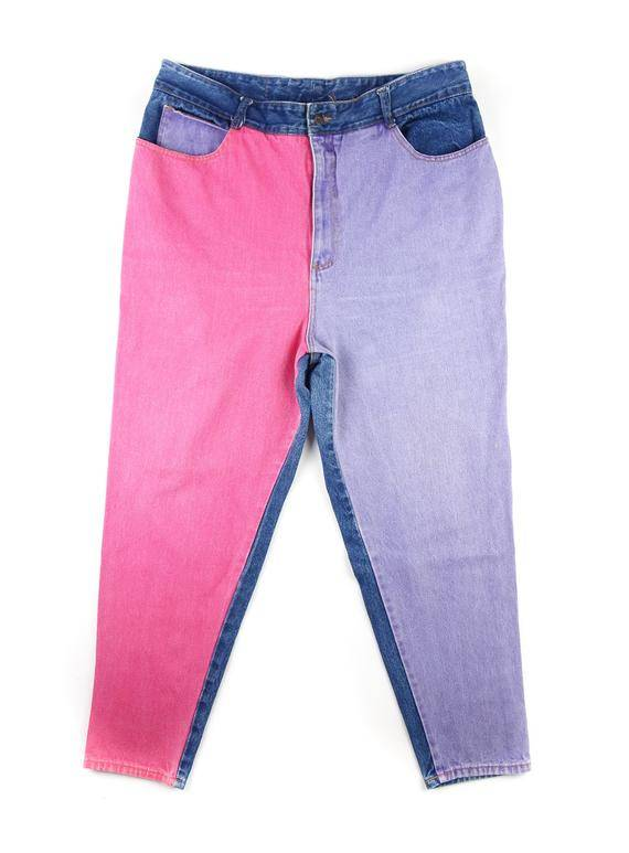 Pink and Purple Color Block Jeans