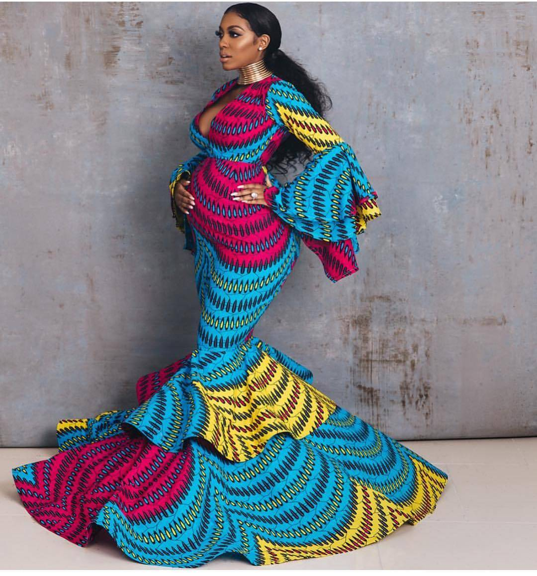 Porsha Williams In African Print Evening Dress By Lavie By CK