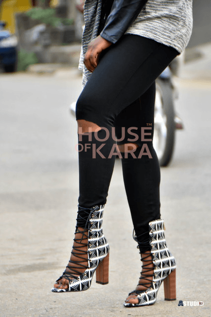 Liz- black n white lace up booties