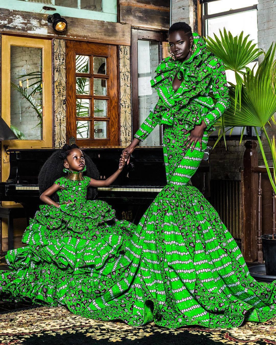 African Print Ruffle Dresses