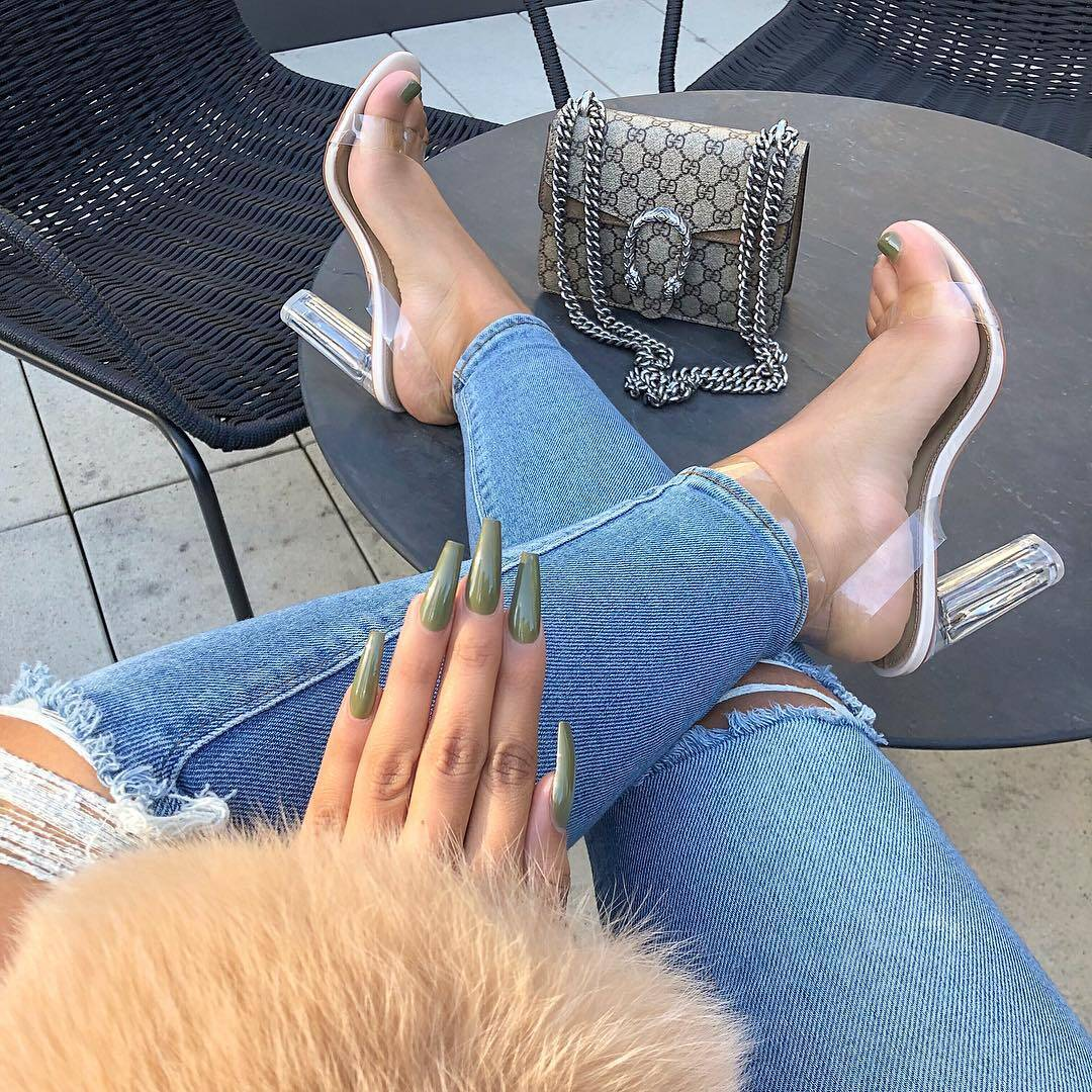 Gucci bag, clear heel sandals and green manicure
