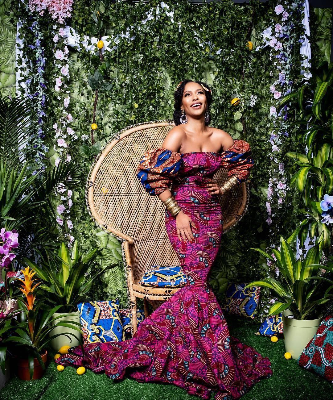 Nomzamo Mbatha in African Print evening dress