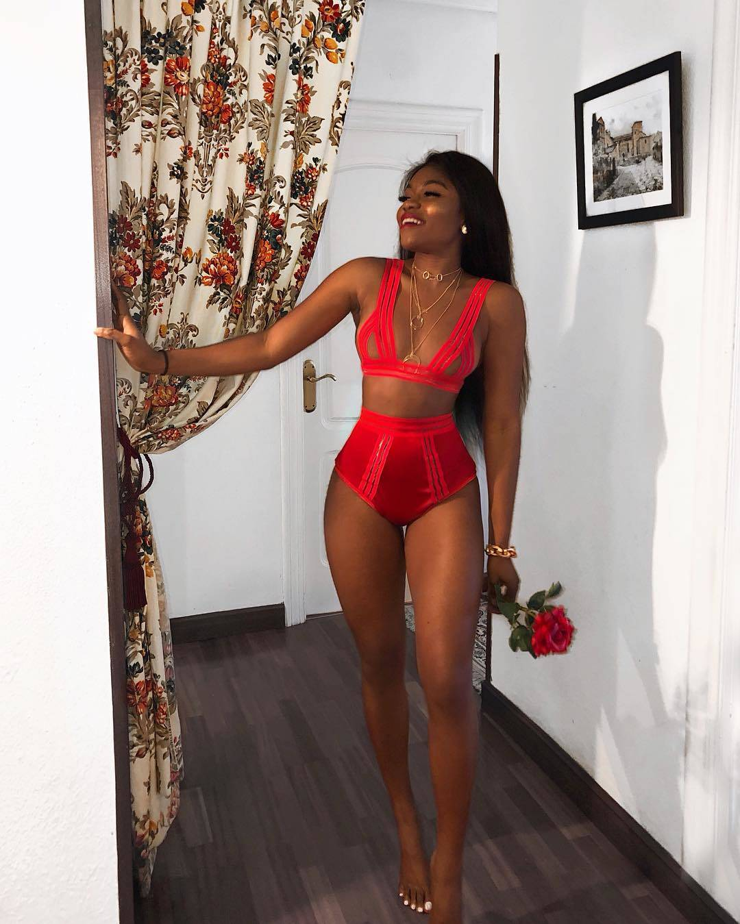Red sexy lingerie swimsuit