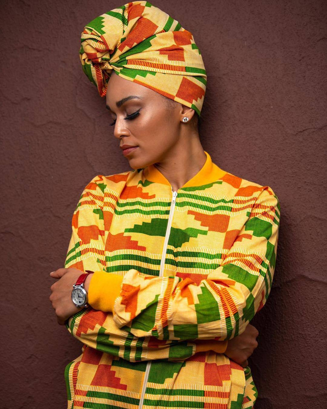 Pearl coordinating Kente bomber jacket with head-wrap