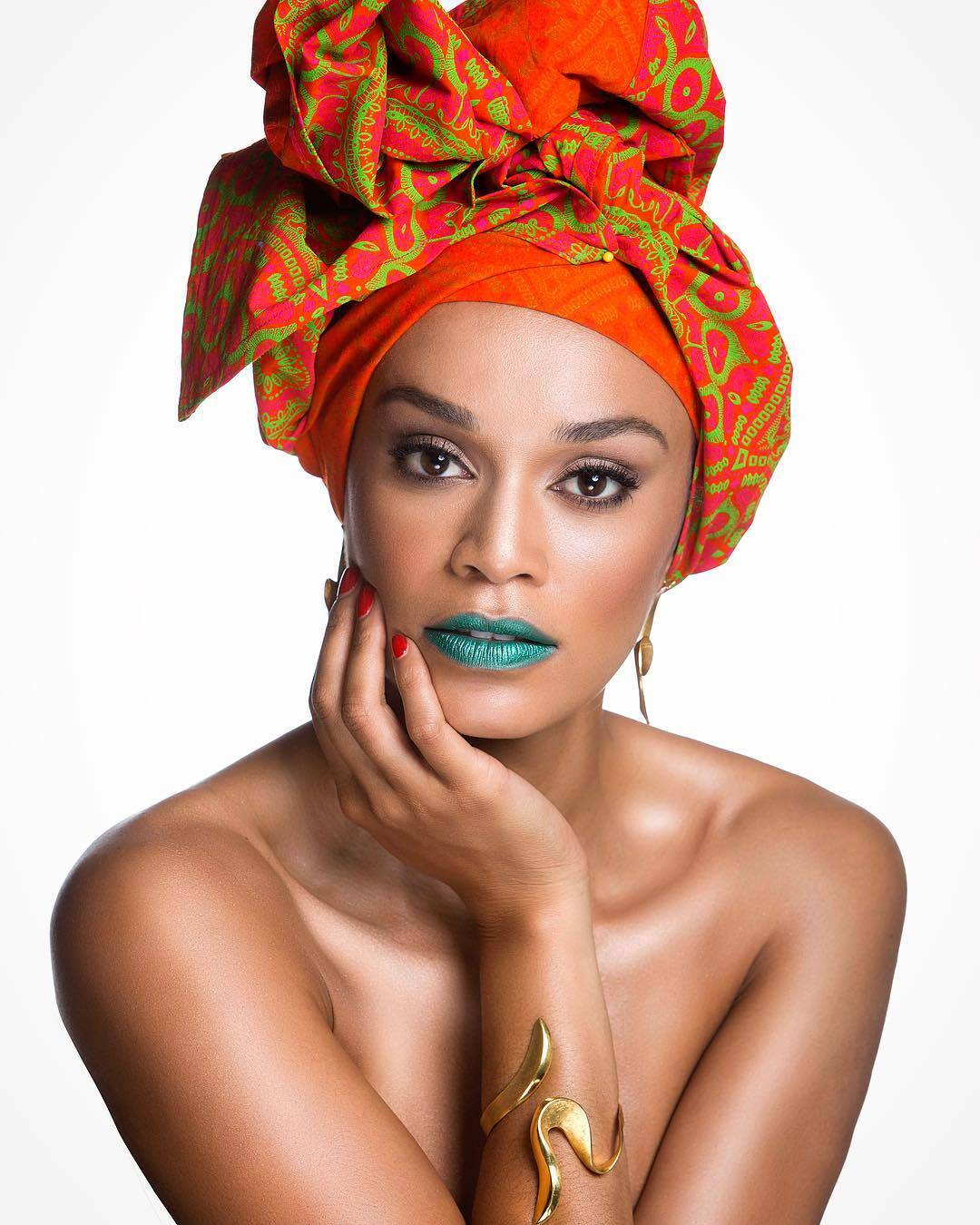 Pearl Thusi in Traditional African Print Head-tie