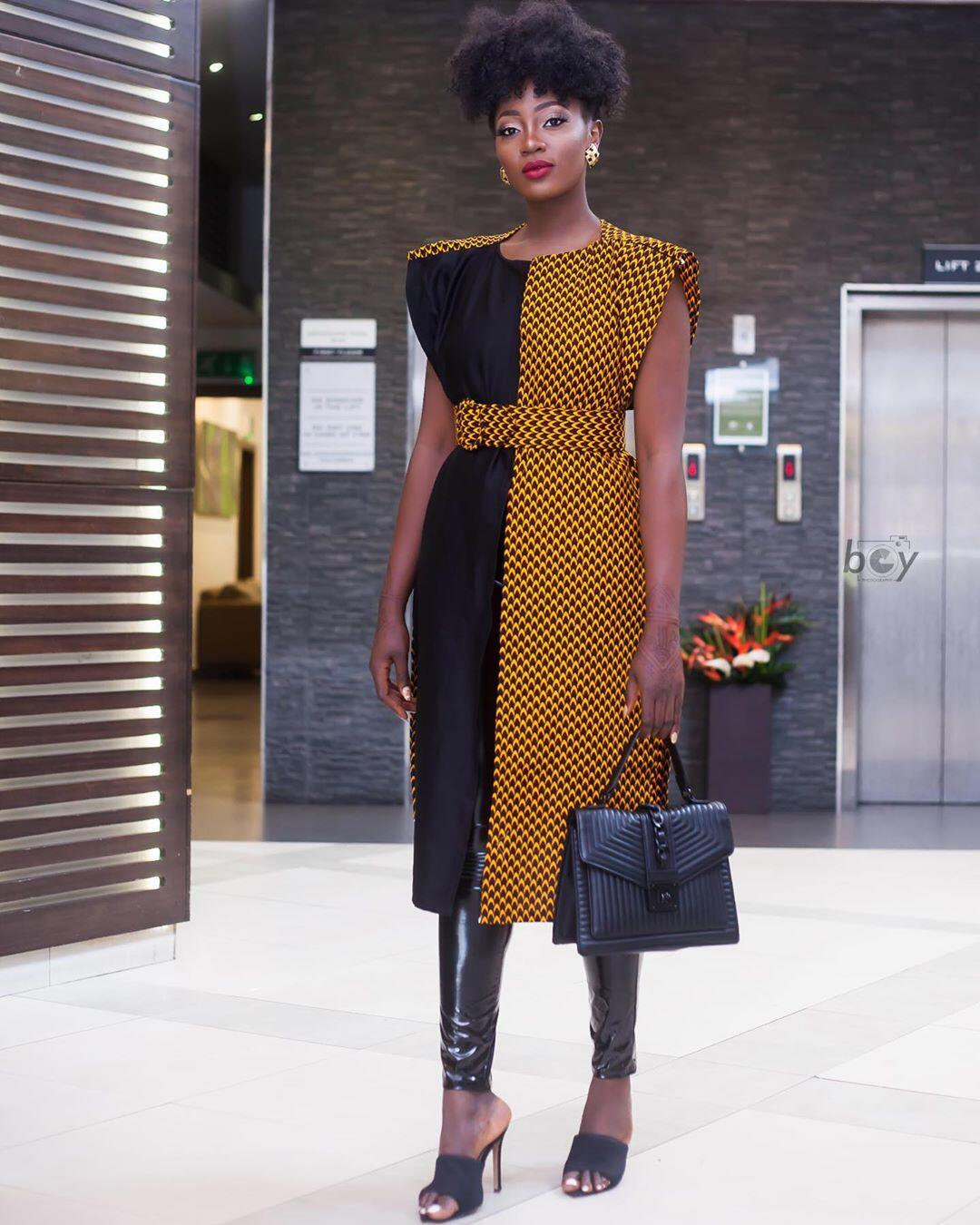 Nora Ndem in African Print Coat