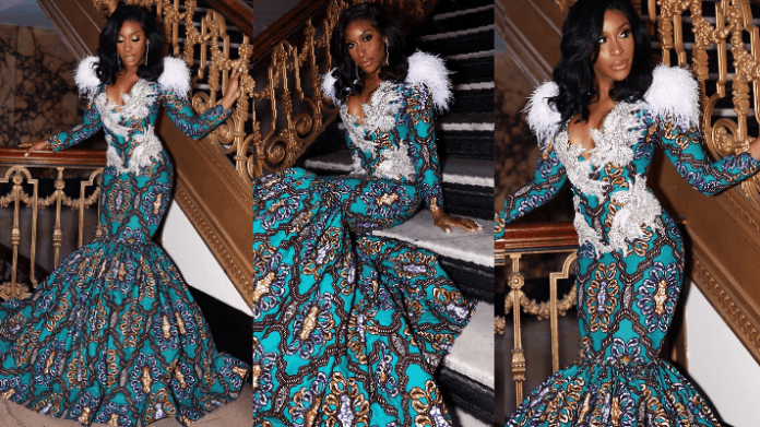 Jackie Aina in Lavie By CK Ankara Ball Gown For Afro Ball