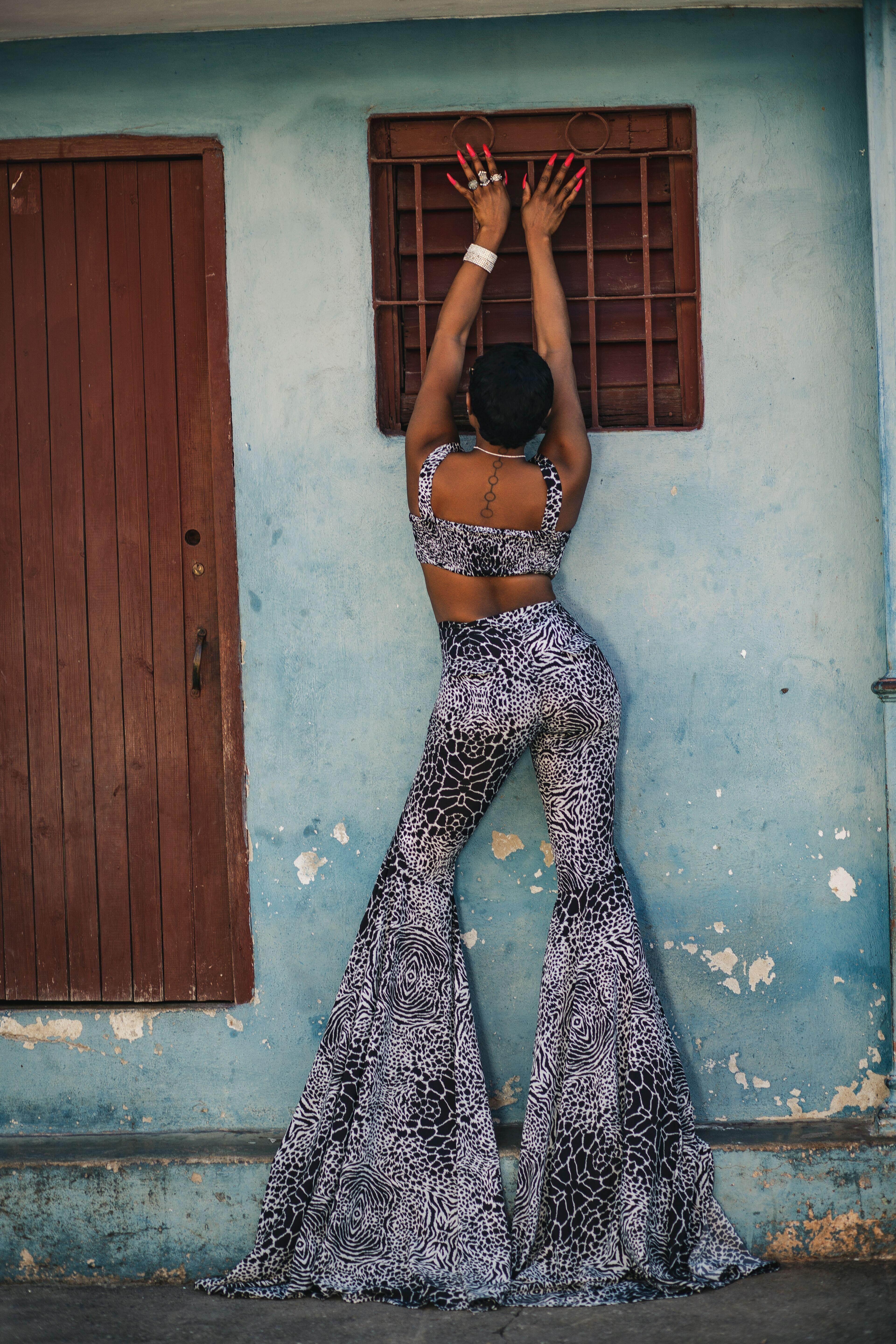 Animal print crop top and flare pant