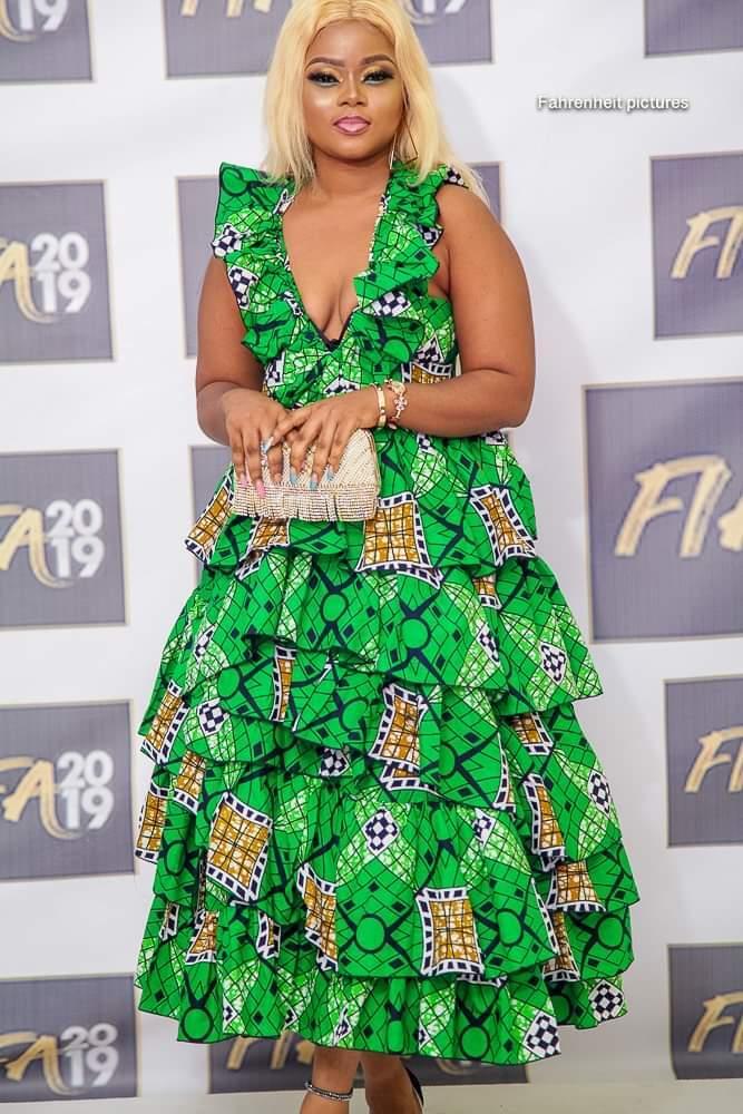 Cameroon attire ruffle green dress