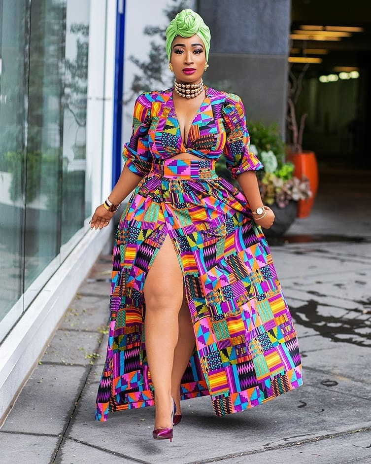 Chic Ama styles Nigerian fashion label D'Iyanu African Print skirt and crop top