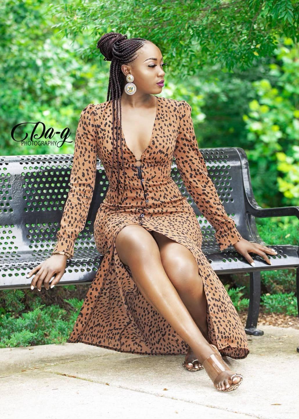 Nora Ndem in Leopard print long dress